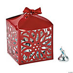 Poinsettia Favor Boxes With Ribbon