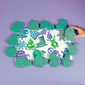 12 Winter Foam Stamps