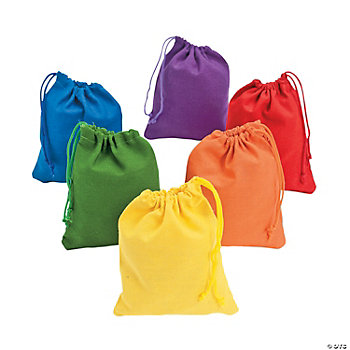 12 Colorful Canvas Treat Bags