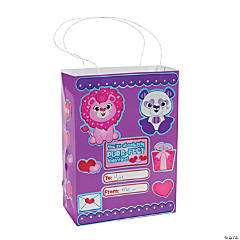 DIY Valentine Craft Bags With Stickers