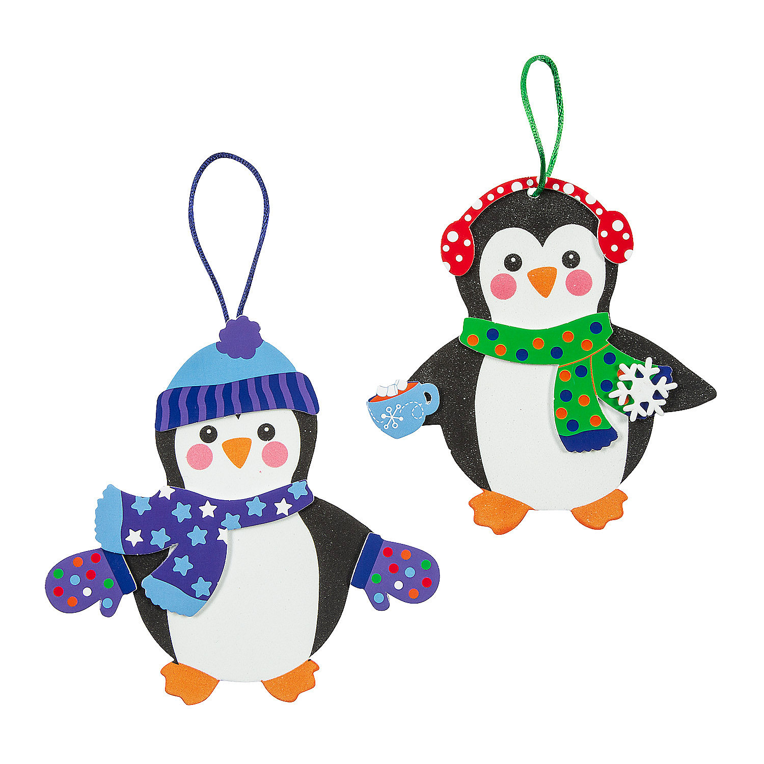 Fabulous foam penguin christmas ornaments oriental trading for Foam sheet christmas crafts