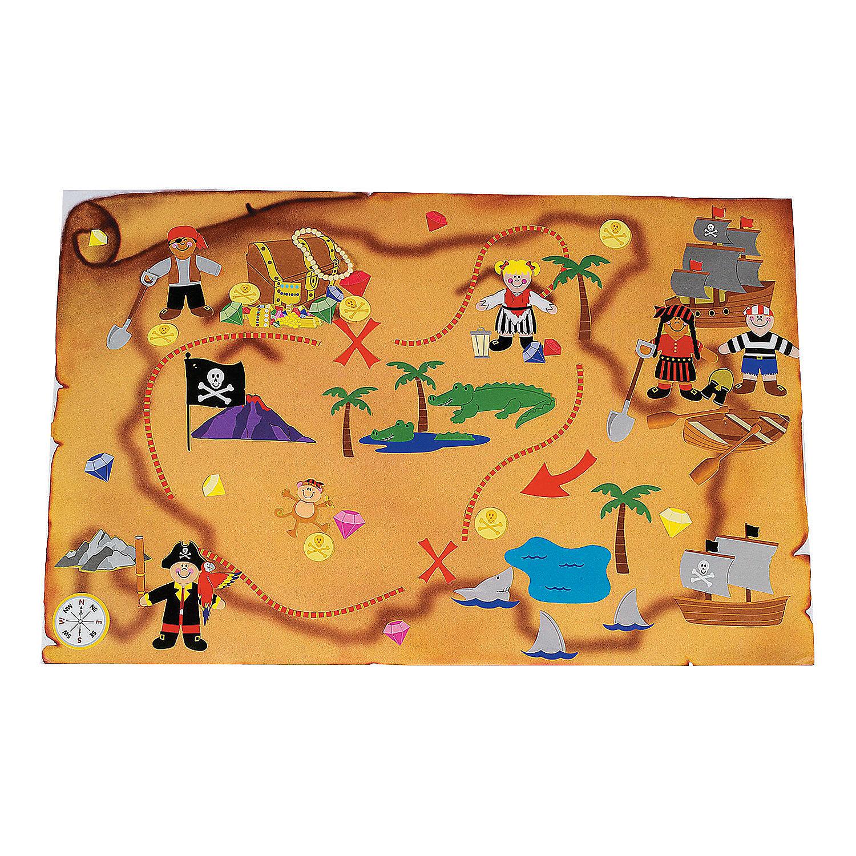Pirate Treasure Map Rug: 12 DIY Giant Treasure Map Sticker Scenes