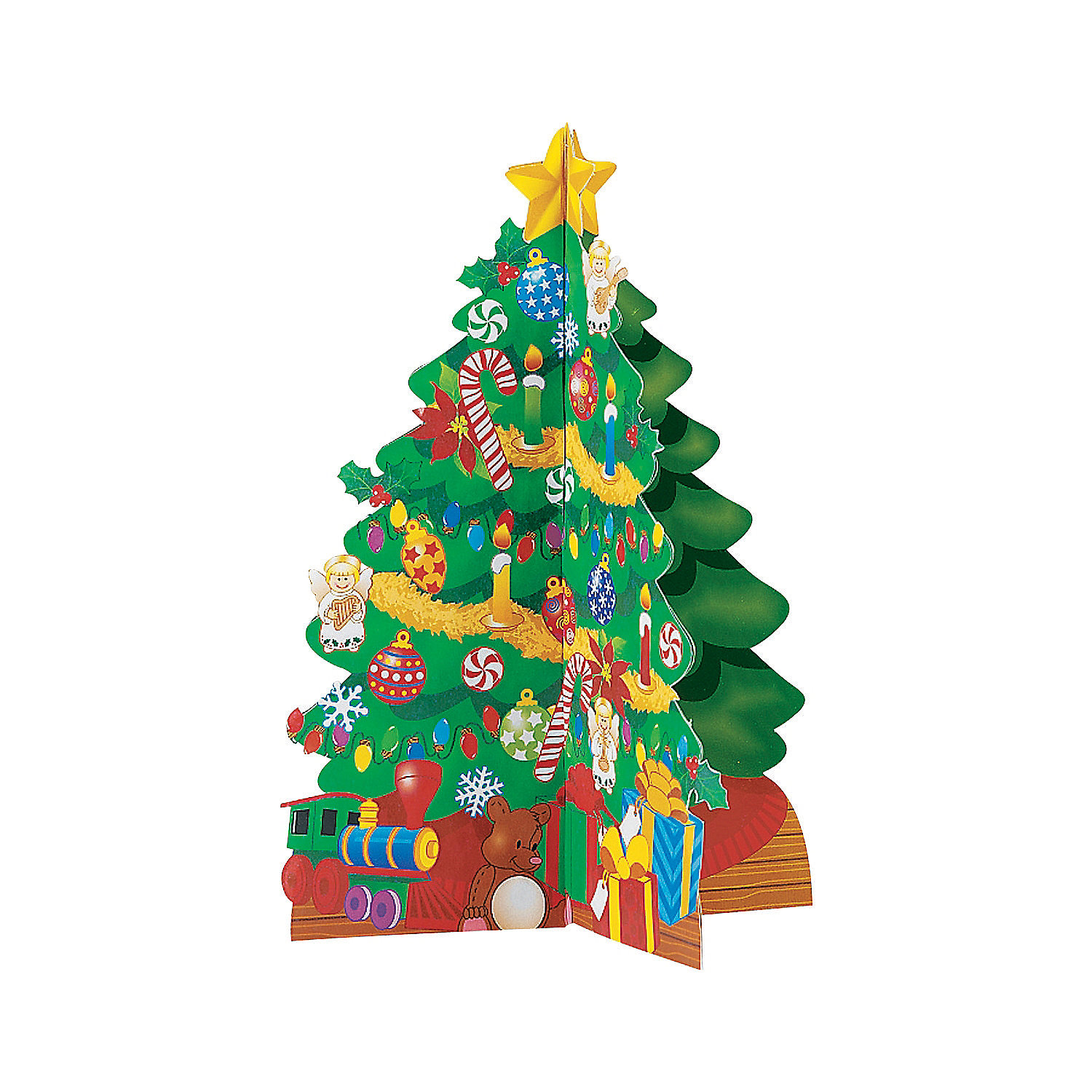 Cardboard d christmas trees and stickers oriental trading