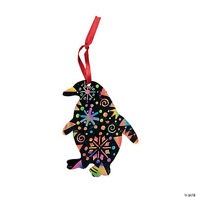 Magic Color Scratch Penguin Christmas Ornaments