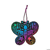 24 Magic Color Scratch Butterfly Ornaments
