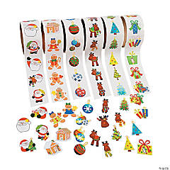 Christmas Stickers On A Roll