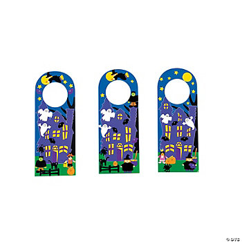 12 Halloween Doorknob Hanger Sticker Scenes