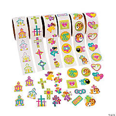 Paper Religious Rolls of Stickers Assortment