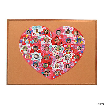 DIY Giant Heart-Shaped Photo Bulletin Board Puzzle