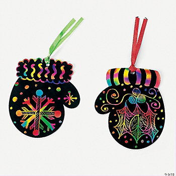 Magic Color Scratch Mitten Ornaments