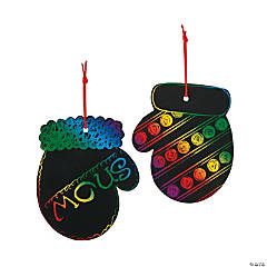 Magic Color Scratch Mitten Christmas Ornaments