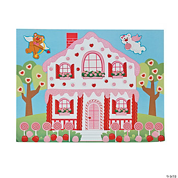 DIY Valentine Candy House Sticker Scenes