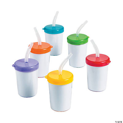DIY Cups with Lids & Straws - 12 pcs.