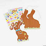 12 Chocolate Easter Bunny Ornament-Shaped Sticker Scenes