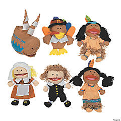 6 Happy Thanksgiving Premium Plush Puppets