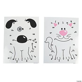 12 Dot-To-Dot Alphabet Characters Wipe-Off Mats