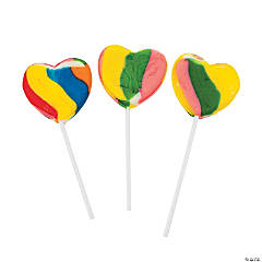 Rainbow Heart-Shaped Lollipops