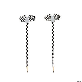 Black & White Checkered Flag Pencils With Eraser