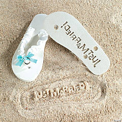"""Just Married!"" Wedding Flip Flops"