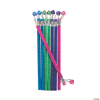 Flocked Pencils With Heart Danglers
