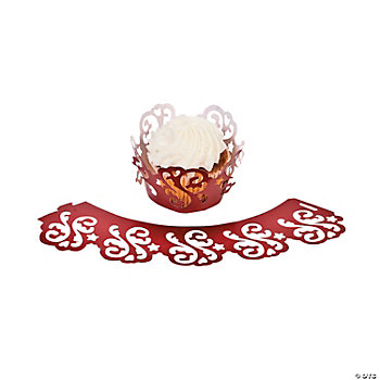 Red On Red Wedding Laser-Cut Cupcake Collars