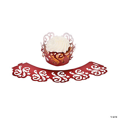 Red on Red Wedding Laser-Cut Cupcake Wrappers