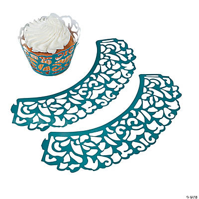 Peacock Wedding Laser-Cut Cupcake Wrappers