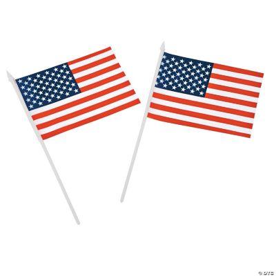 Medium American Flags on Plastic Sticks