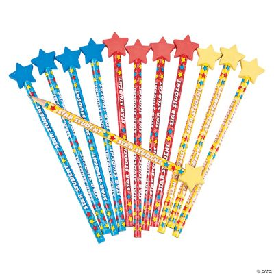 Star Student Pencils with Eraser Top