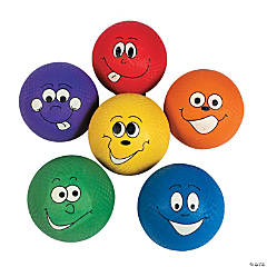 Rubber Happy Face Playground Balls