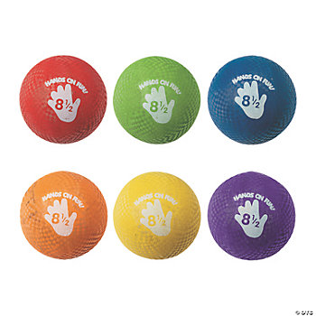 Rainbow Rubber Playground Balls-8.5""