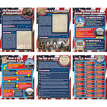 6 Pc. U.S. Government Learning Chart Set