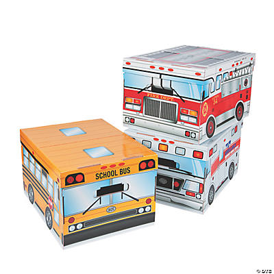 3 Pc. Bus, Ambulance And Fire Truck Storage Boxes