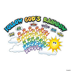 Hand Print Colors of Faith Bulletin Board Set