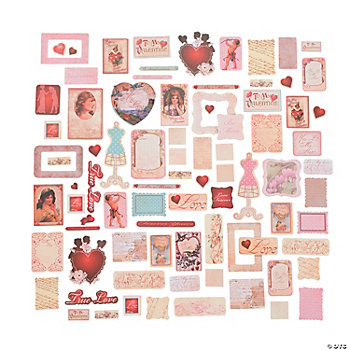 Vintage Valentines Die Cut Shapes