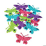 48 Felt Butterfly Embellishments with Rhinestones