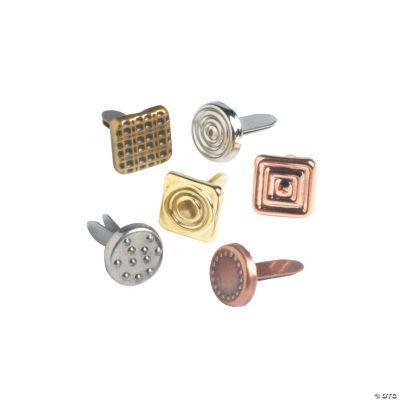 72 Embossed Metallic Mini Brads