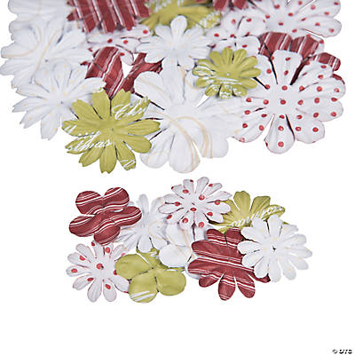 36 Printed Christmas Paper Flowers