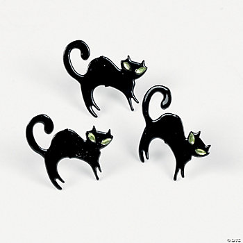Black Cat Rhinestone Brads