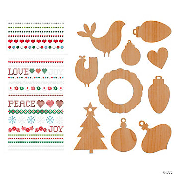 Scandia Jul Chipboard Ornament Decorating Set