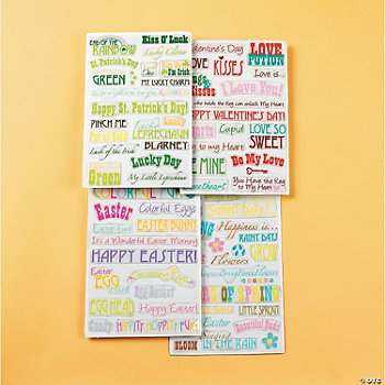 Spring Holiday Phrase Stickers