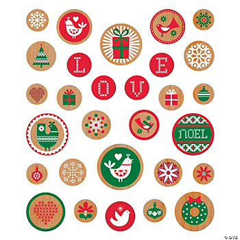 Scandia Jul Chipboard Flocked Stickers