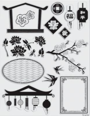 14 Far East Clear Stamps
