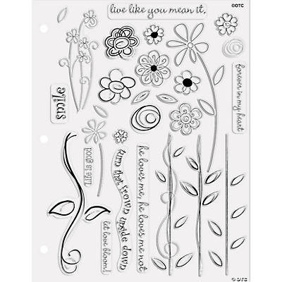 28 Flower Doodle Clear Stamps