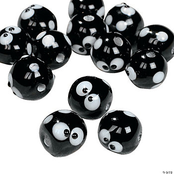 Black & White Mini Dot Beads - 12mm