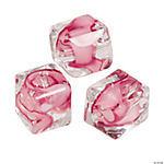 Pink Ribbon Cube Glass Beads - 10mm