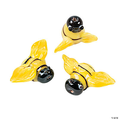 Bumblebee Lampwork Glass Beads - 23mm x 16mm