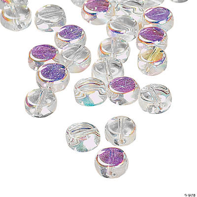 Aurora Borealis Clear Flat Round Beads - 6mm
