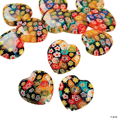 Multi-Colored Millefiori Heart Beads - 17mm