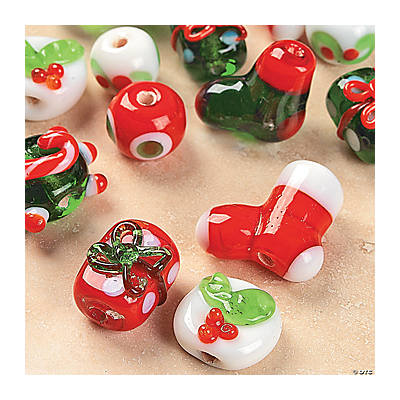 Christmas Lampwork Beads - 5mm-15mm